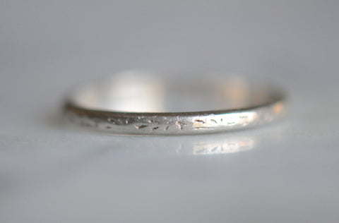 Petite Art Deco Platinum Engraved Ring