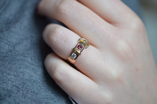 Rosy Victorian Ruby and Diamond Buckle Ring