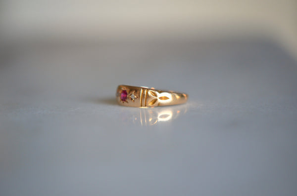 Striking Victorian Ruby Trilogy Ring