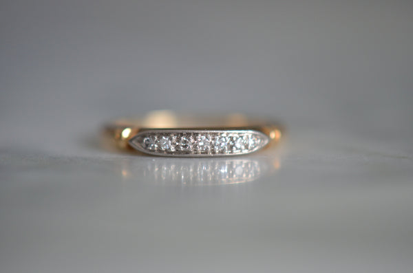 Delicate Two Tone Vintage Diamond Band