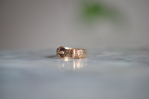 Floral Engraved Vintage Buckle Ring 1936