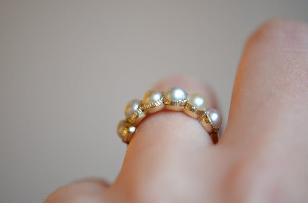 Graceful Georgian-Style Pearl Half Hoop Ring