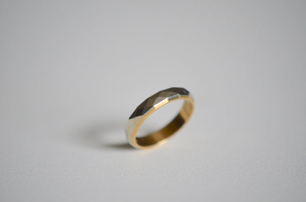 Signed Midcentury Two-Tone Faceted Ring