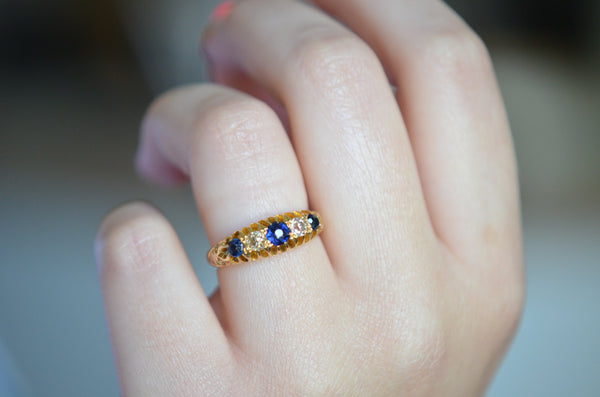 Outstanding Sapphire and Diamond Five Stone Ring