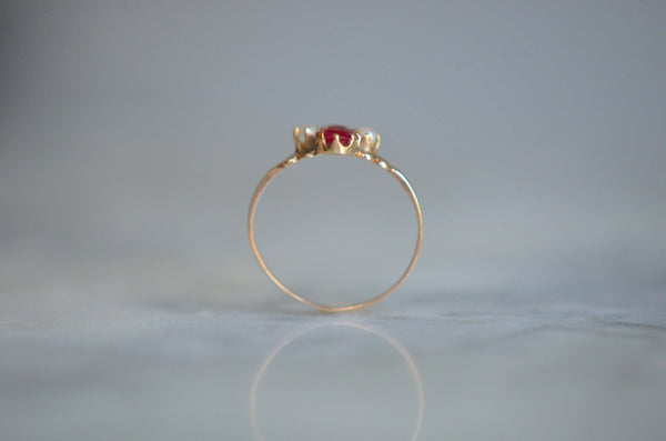 Vivid Pearl and Ruby Art Deco Ring