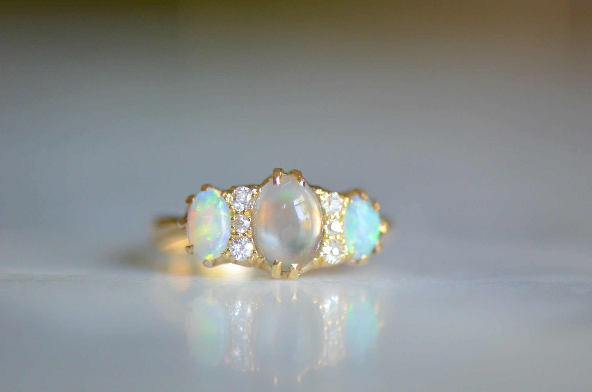 Ethereal Victorian-Style Opal Diamond Ring