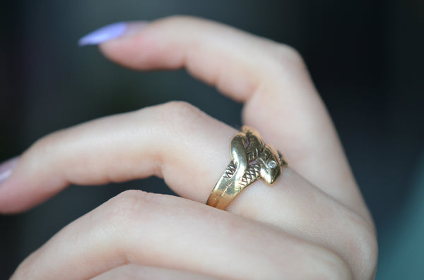 Handsome Midcentury Double Snake Ring