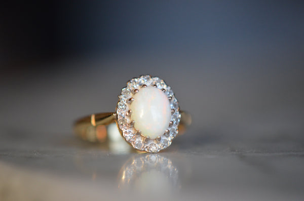 Romantic Victorian Revival Opal Halo Ring