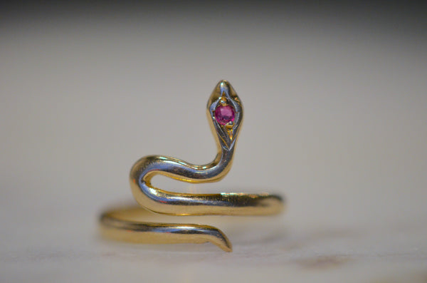 Sinuous Ruby Snake Ring