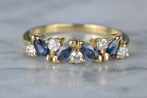 Gorgeous Marquise Sapphire and Diamond Half Hoop