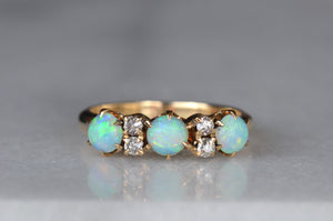 Magical Opal and Diamond Victorian Ring