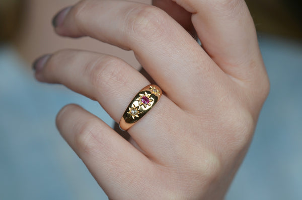 Juicy Ruby and Diamond Gypsy Ring 1909