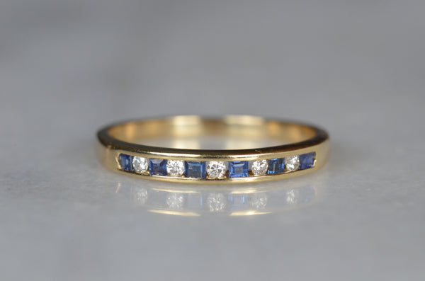 Slim Estate Diamond and Sapphire Band