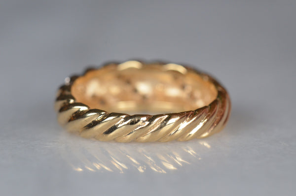 Diamond Studded Vintage Croissant Dome Ring