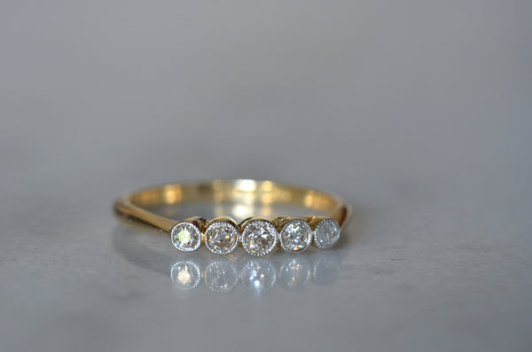 Slim Bezel Five Diamond Band