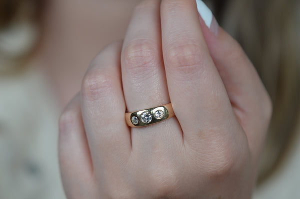 Dreamy Antique Burnished Trilogy Ring
