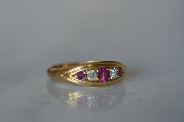 Vibrant Ruby and Diamond Boat Ring 1902