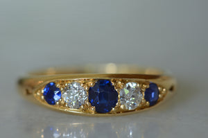 Dramatic Sapphire and Diamond Boat Ring 1898