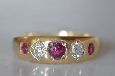 Ravishing Ruby and Diamond Victorian Ring