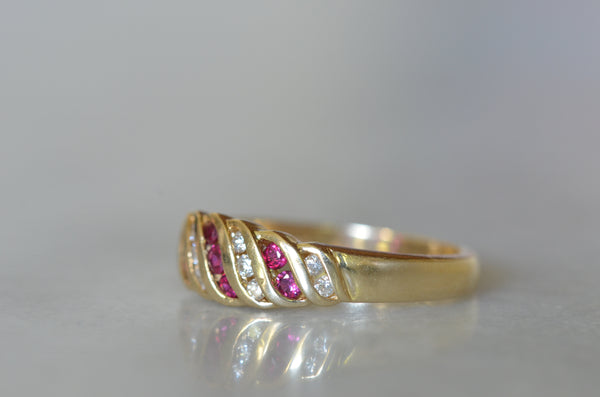 Vivid Ruby and Diamond Vintage Croissant Ring