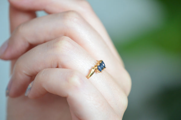 Dainty Marquise Sapphire Trilogy Ring