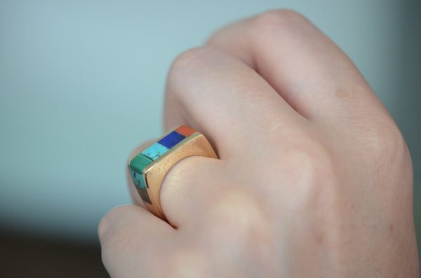 Outstanding Vintage Inlay Ring