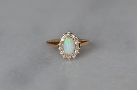 Dainty Victorian Opal and Diamond Halo Ring