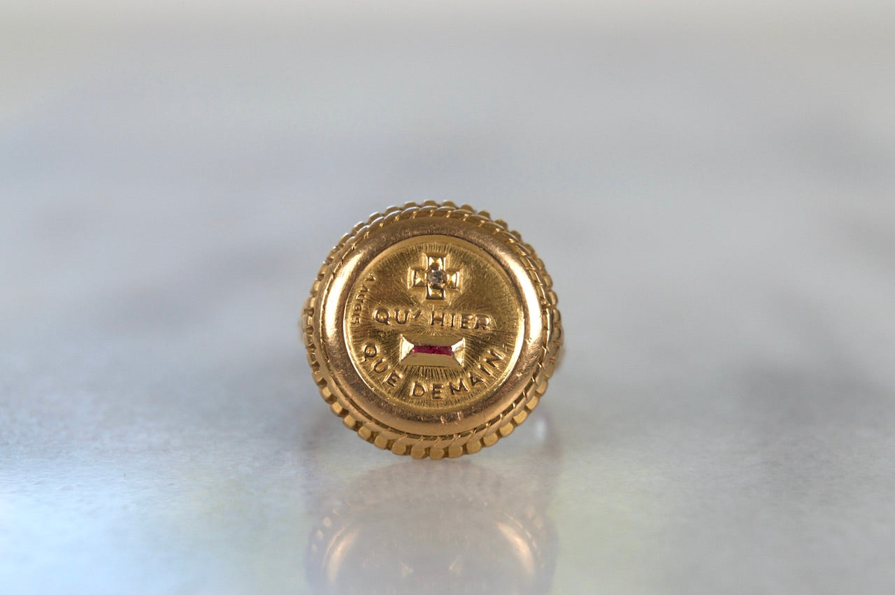 Big, Bold Vintage Love Token Ring