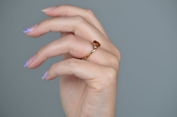 Golden Vintage Citrine and Pearl Ring