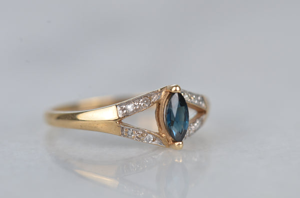 Vintage Sapphire Marquise Split Shank Ring