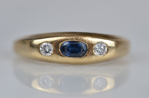Victorian-Inspired Sapphire and Diamond Flush Ring