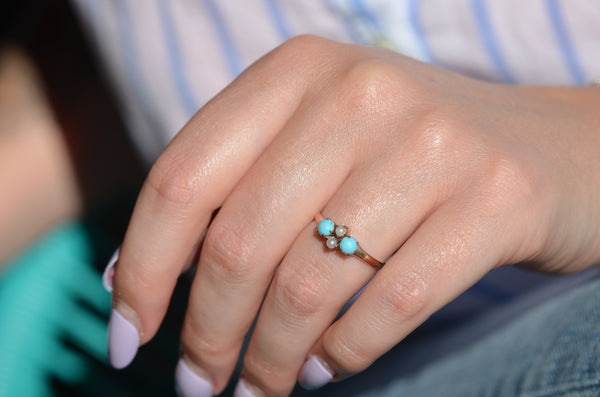 Dainty Victorian Turquoise and Pearl Ring