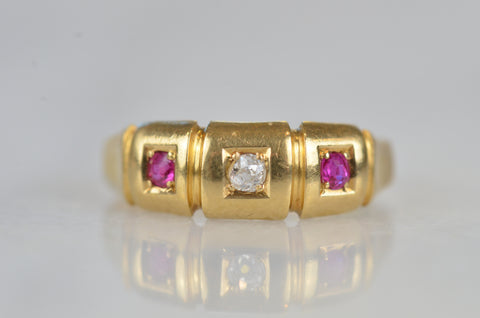 Vibrant Victorian Ruby and Diamond Panel Ring