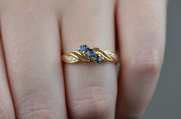 Scrolling Vintage Sapphire Trilogy Ring