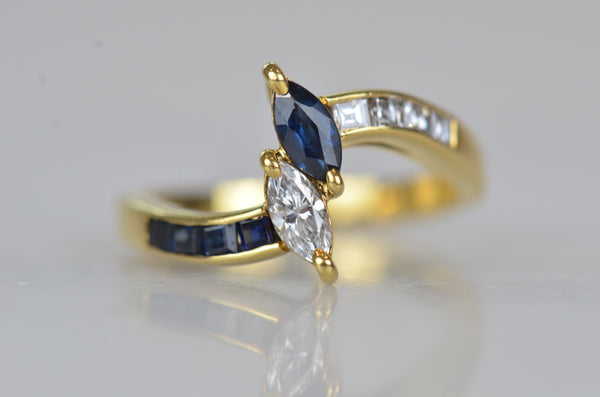 Striking Vintage Sapphire and Diamond Marquise Toi et Moi