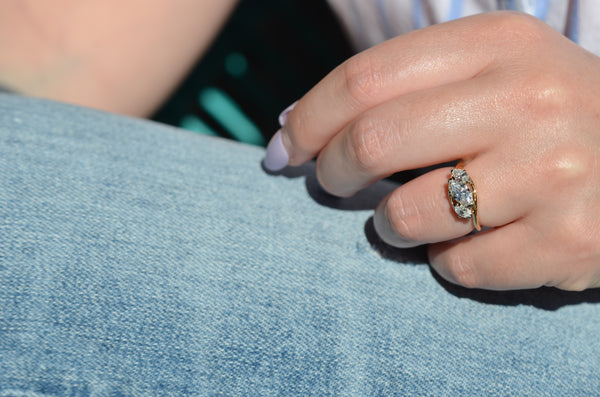 Radiant Vintage Marquise Engagement Ring