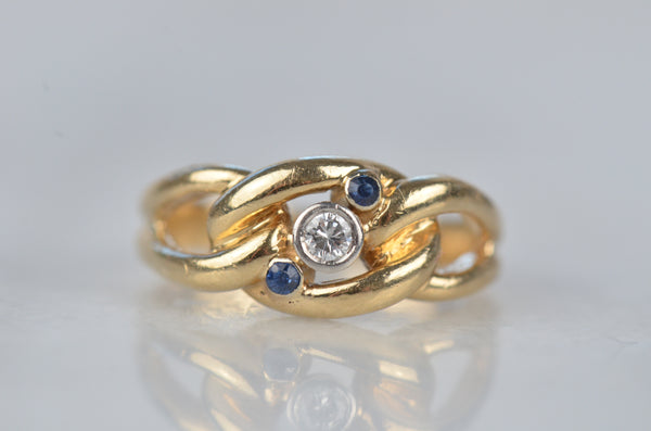Rich Vintage Diamond and Sapphire Chain Ring