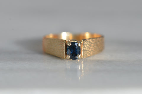 Textured Vintage Sapphire Ring