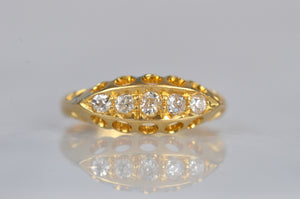 Sparkling Edwardian Diamond Boat Ring