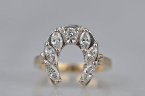 Dazzling Vintage Diamond Horseshoe Ring