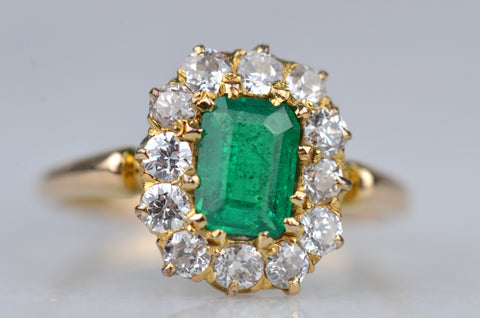Captivating Victorian Emerald Halo Ring