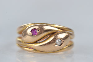 Endearing Victorian Double Snake Ring
