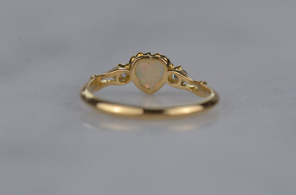 Otherworldly Victorian Opal Heart Ring