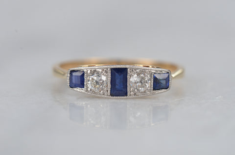 Chic Edwardian Sapphire and Diamond Band