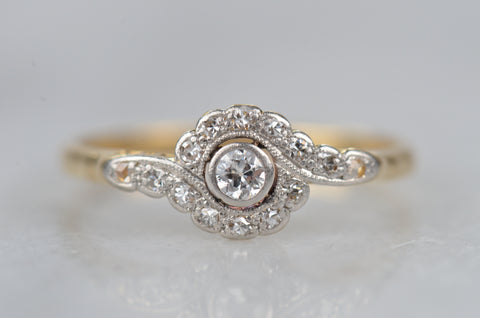 Sparkling Edwardian Daisy Bypass Ring