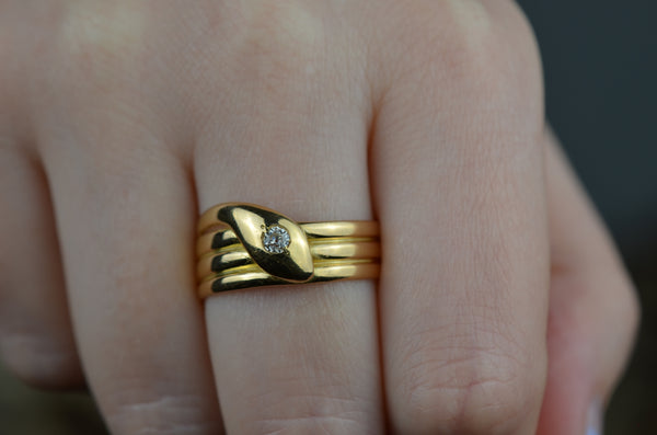 Handsome Victorian Coiled Snake Ring