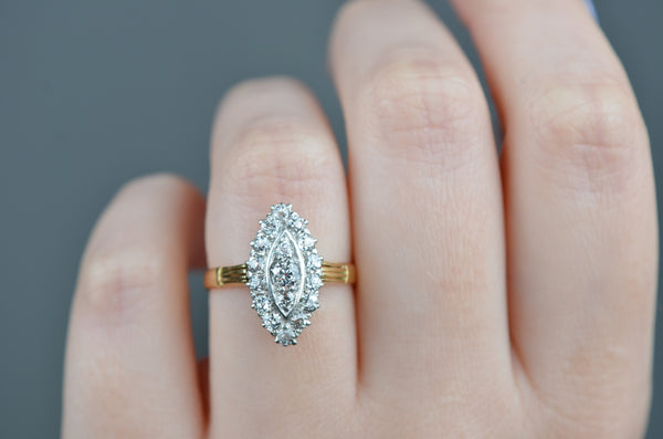 Sensational Antique Diamond Navette Ring