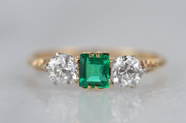 Electrifying Antique Emerald Trilogy Ring