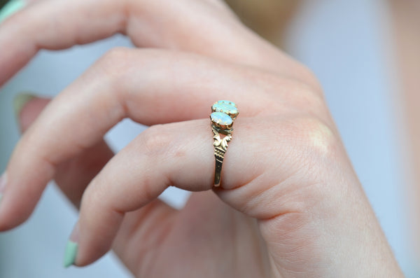 Dainty Victorian Opal Trilogy Ring