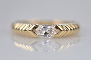 Dazzling Vintage Ribbed Marquise Ring